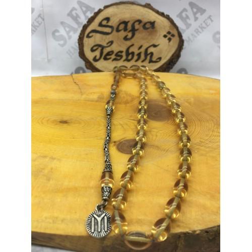 Kehribar Ateş Tesbih Sarı Beyzi Gümüş Püskül 925 Ayar