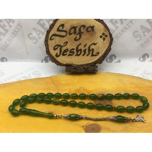 Kehribar Sıkma Tesbih Yeşil Beyzi Gümüş Püskül 925 Ayar